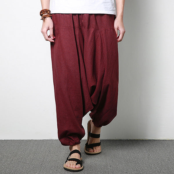 Mens Cotton Linen Harem Pants Casual Baggy Loose Trousers Fashion Wide Legs Trousers