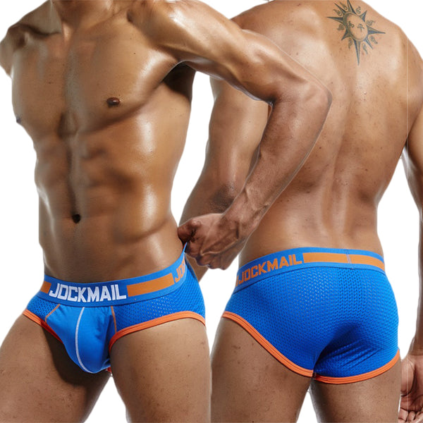 Sexy Underwear Patchwork Spandex Mesh Breathable Low Waist Brief for Men