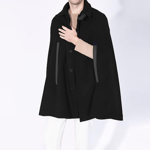 Mens Contrast Color Patchwork Button Cloak SKUG20246
