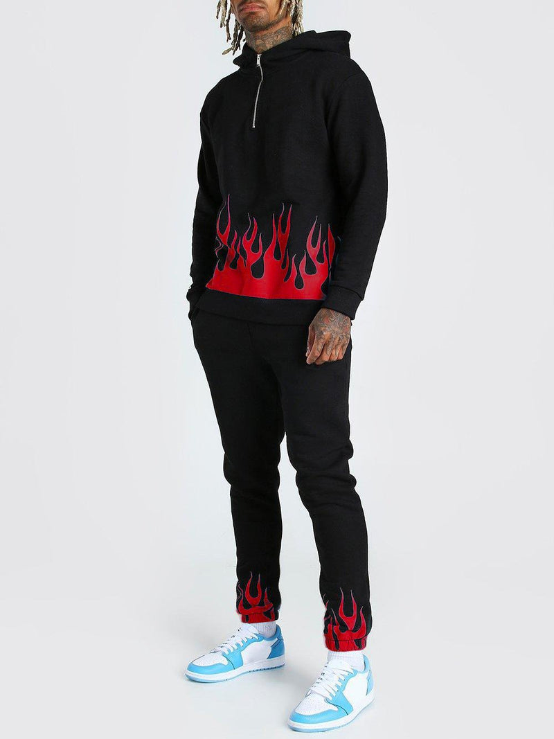 Men's Printed Casual Flame Personality Sports Suit