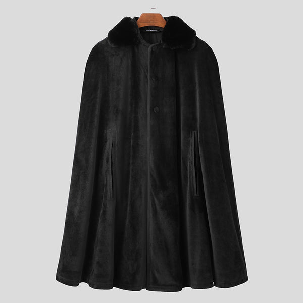 Mens Poncho Velvet Fleece Cape Warm Cloak Coat Jacket Outwear SKUG18516