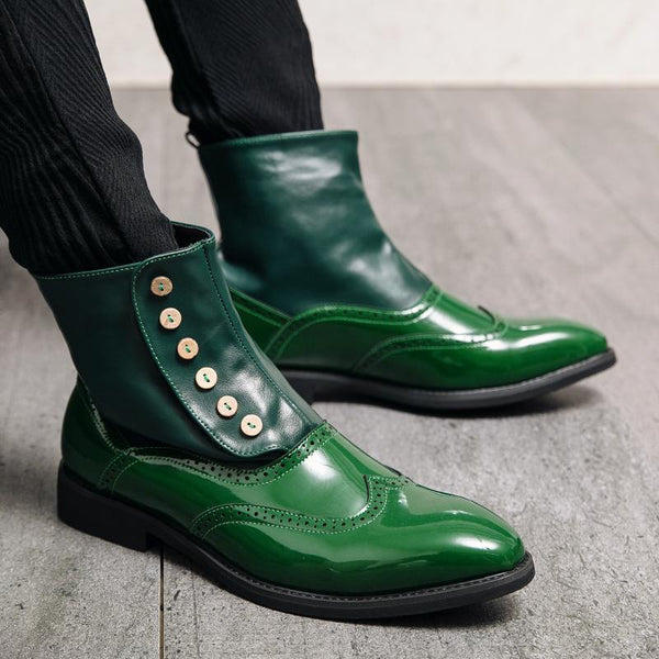 Men British Style Brogue Pointed Toe Dress Ankle Boots SKUG59158