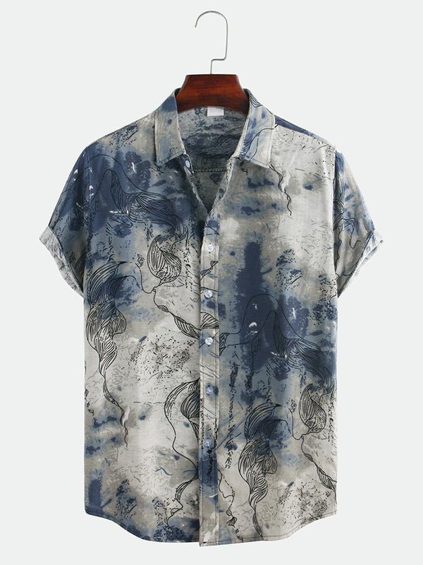 Mens Chinese Style Abstract Printing Short Sleeve Loose Casual Shirts
