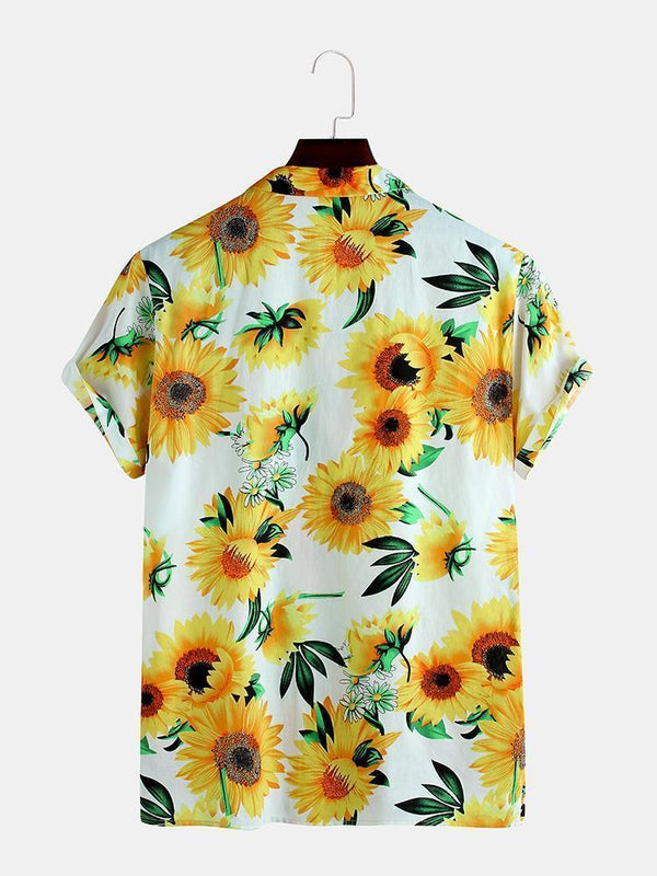 Mens Sunflower Printing Breathable Casual Turn Down Collar Short Sleeve Shirts
