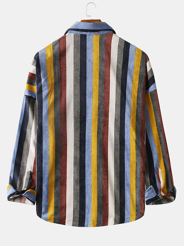 Mens Brief Style Color Stripe Corduroy Casual Long Sleeve Shirts