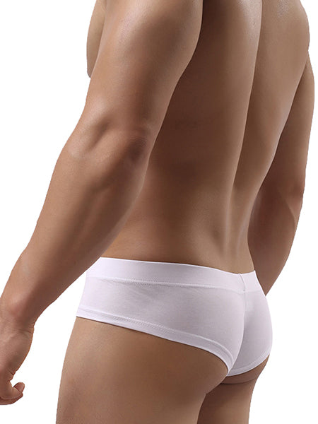 Sexy Cotton Breathable Low Waist Solid Color U Convex Pouch Briefs for Men