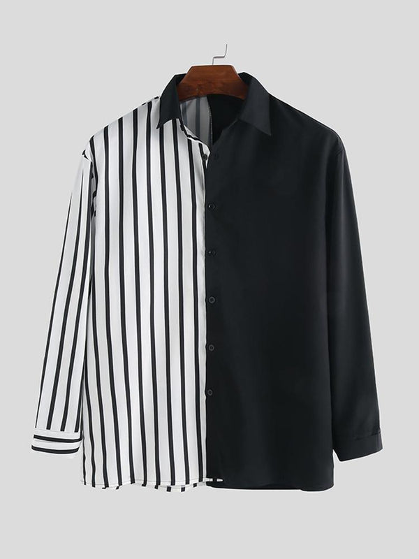 Mens Stripe Hit Color Patchwork Stylelish Casual Long Sleeve Shirts