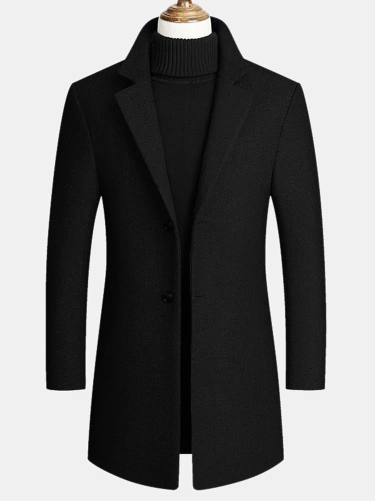 Mens Wool Blends Mid-long Coats Business Casual Wool Trench Coats