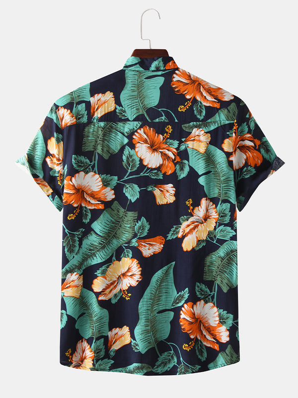 Mens Hawaiian Tropical Plant Floral Print Short Sleeve Shirts
