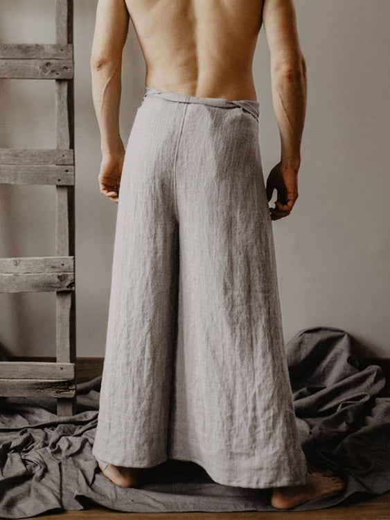 Mens Two Pieces Loose Fisherman Pants Hippies Trousers