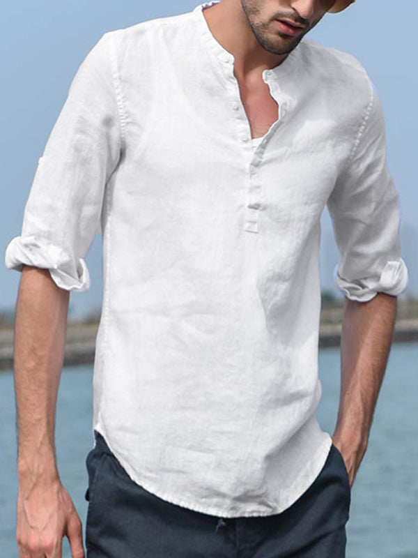 Mens 3/4 Sleeve Stand Collar Button Blouse Pullover Casual Henley Shirts