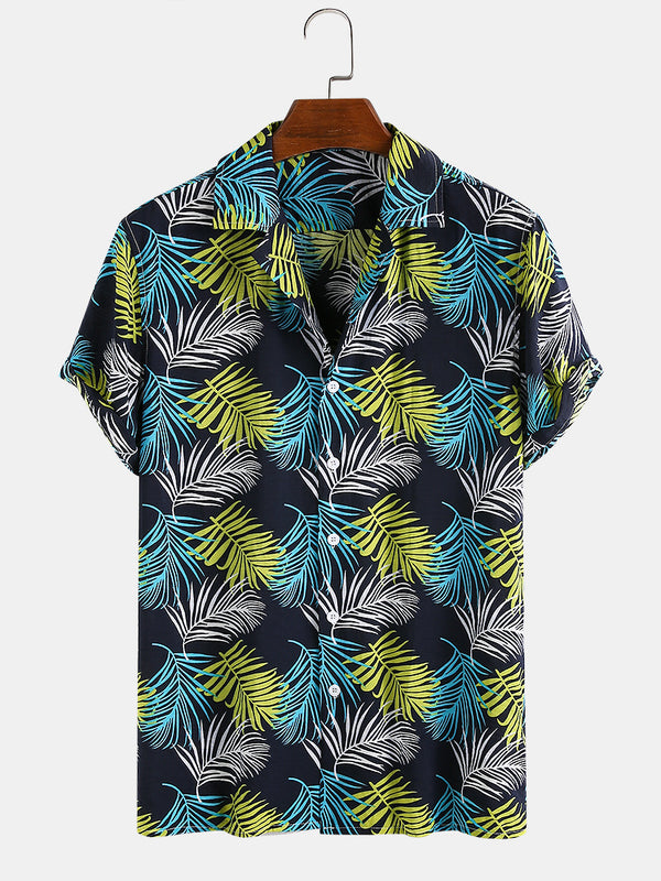 Men 80% Cotton Leaf Printed Turn Down Collar Vacation Casual Shirt