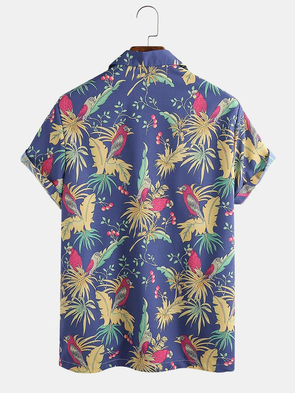 Mens Tropical Floral Forest Parrot Print Short Sleeve Shirts