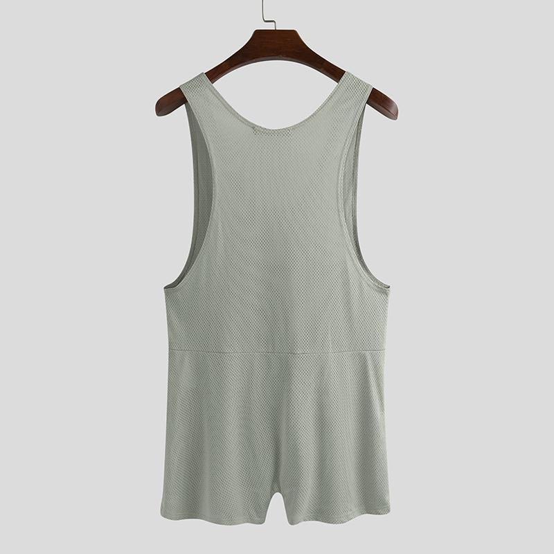 Mens Sleeveless Tank Tops Vest Workout Bodysuit Stretchy Dance Romper Underwear