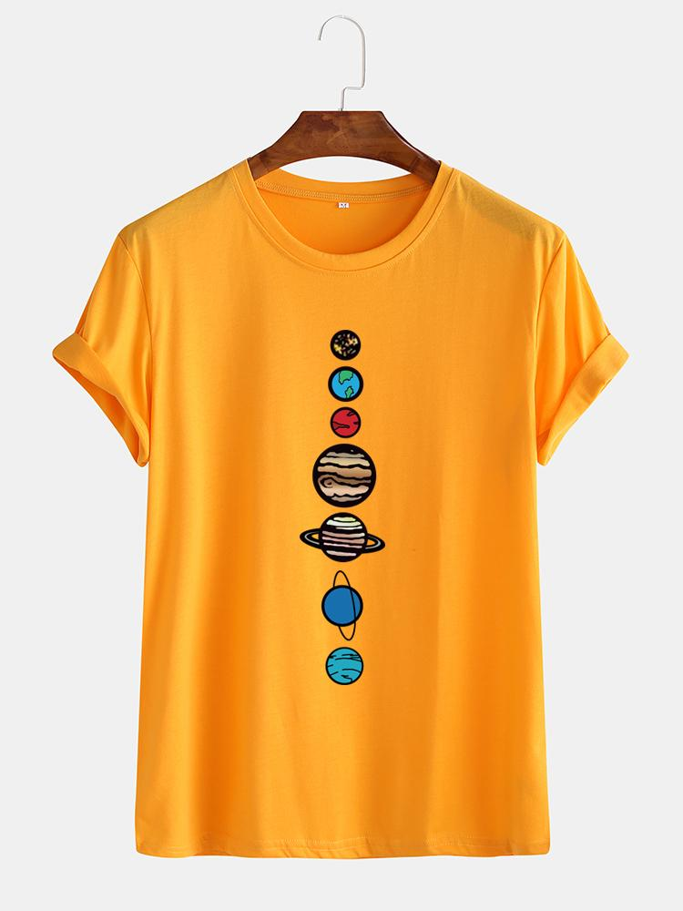 Mens Fun Cartoon  Multi-color Planet Printed Casual T-shirts