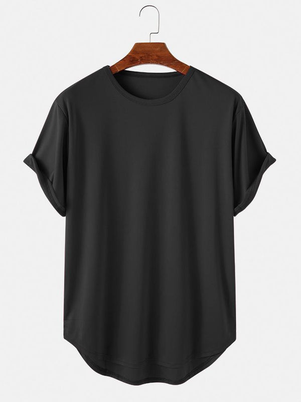 Mens Basic Solid Color Casual Breathable & Thin O-Neck T-Shirts