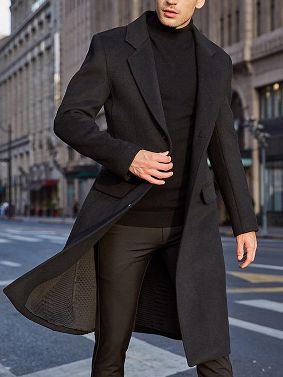 Mens Cardigan Cloak Cape Coat Long Button Up Outwear Overcoat Warm