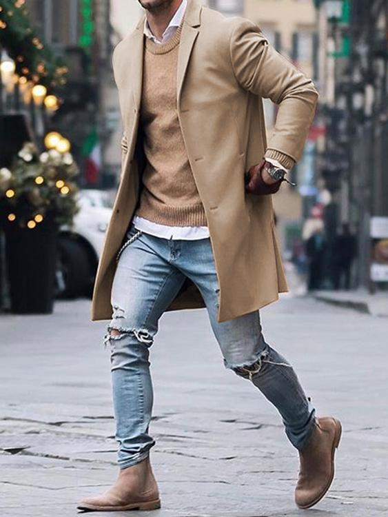 Mens Winter Warm Jacket Trench Long Wool Coats Casual Outwear Overcoat