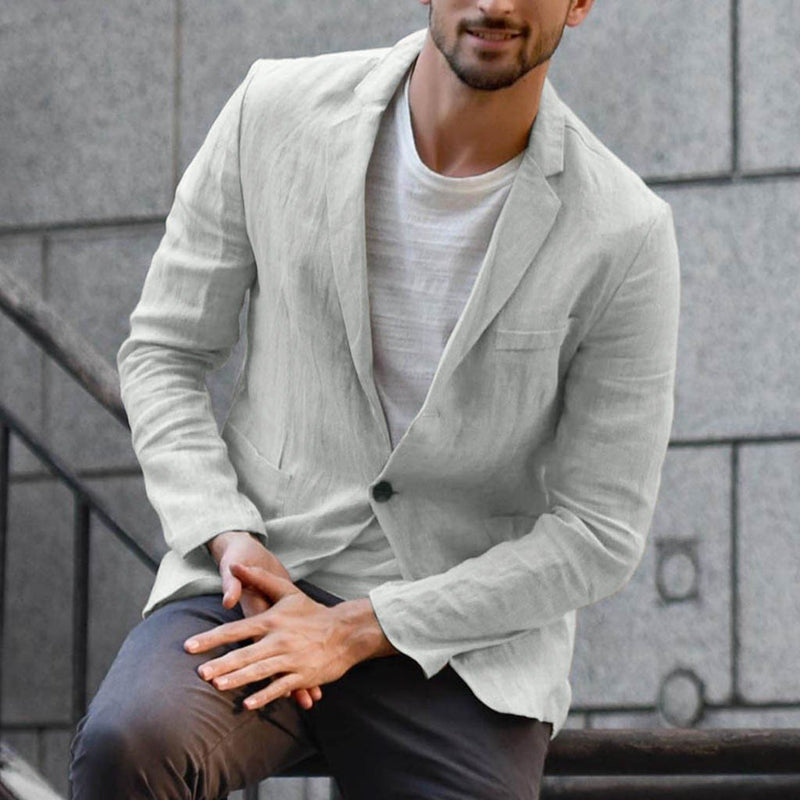 Mens Cotton Linen Loose Solid Color Thin Section Regular Casual Blazer Suit