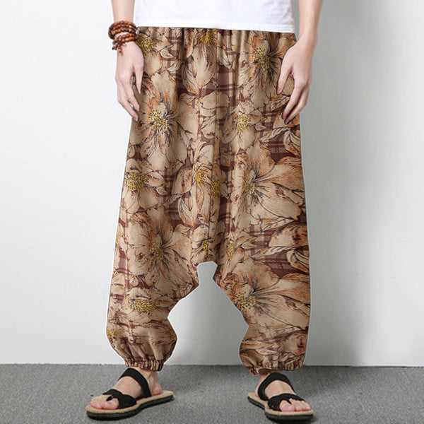 Men's Loose Drop Crotch Ali Baba Yoga Harem Cotton Yoga Linen Floral Trousers SKUF76639