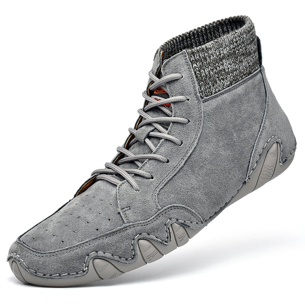 Men Breathable Soft Lace Up Leather Sock Ankle Boots