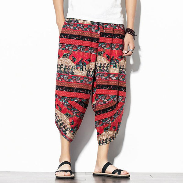 Mens Casual Baggy Cotton Harem Ethnic Style Printed Loose Wide Leg Lantern Pants