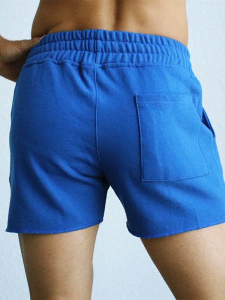 Pure Color Cotton Lounge Trunks Breathable Gym Running Sport Shorts With Pockets