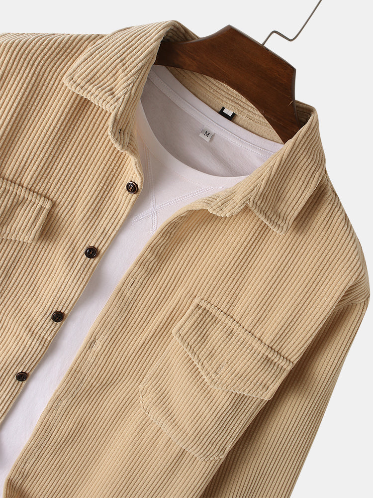 Mens Solid Corduroy Relaxed Fit Casual Long Sleeve Shirts With Flap Pockets