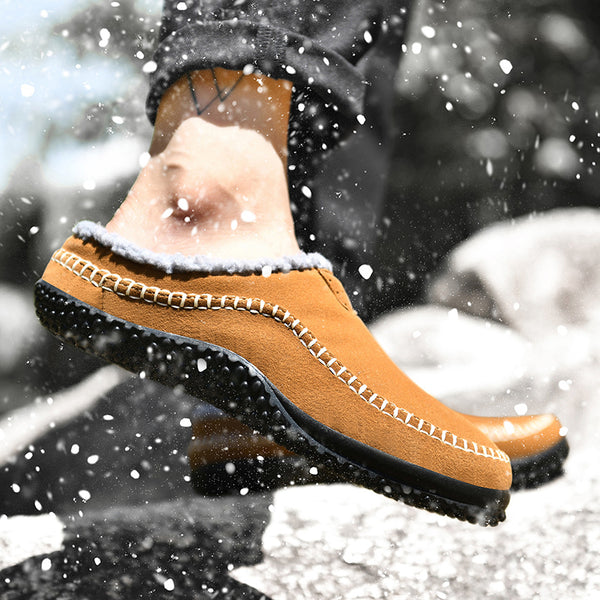 Men Warm Lining Backless Loafers Non Slip Slipper Boots