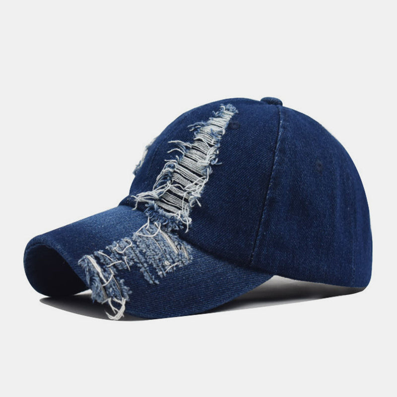 Washed Cotton Denim Baseball Cap With Holes