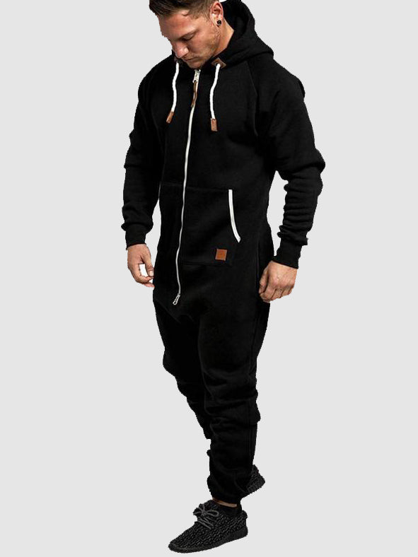 Men's Hooded Fleece One-piece Solid Color Casual  Jumpsuit Sweatsuit