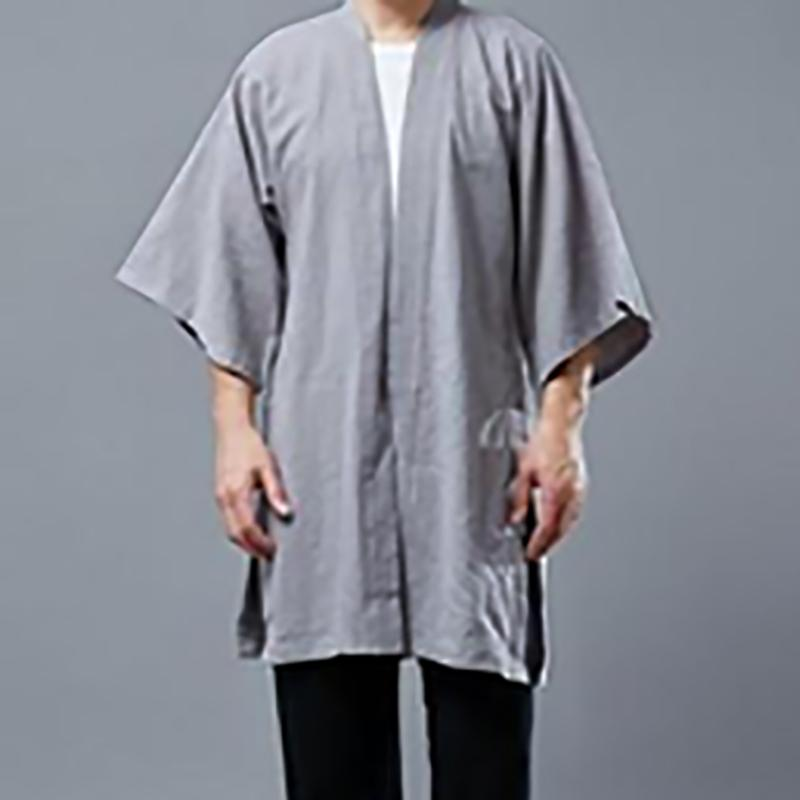 Mens 100%Cotton 3/4 Sleeve Jacket Casual Loose Cardigan Cape Cloak Outwear