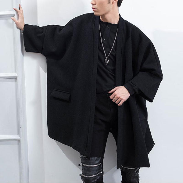 Men's Solid Color Loose Cloak Cape Coat Jacket
