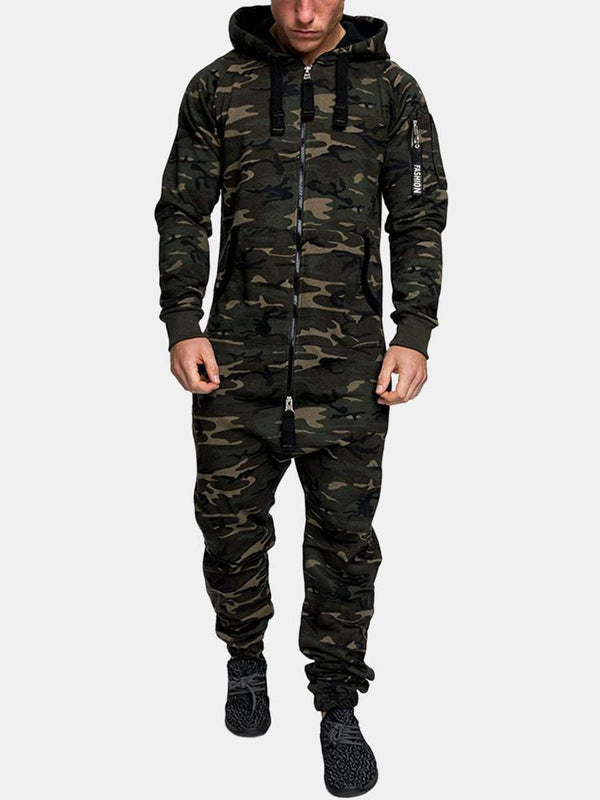 Camo Print Beam Footed Cozy Hooded Drawstring Zipper Jumpsuits With Pockets