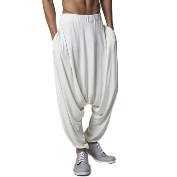 Mens Solid Color Harem Pants Casual Baggy Loose Trousers Wide Legs Pants
