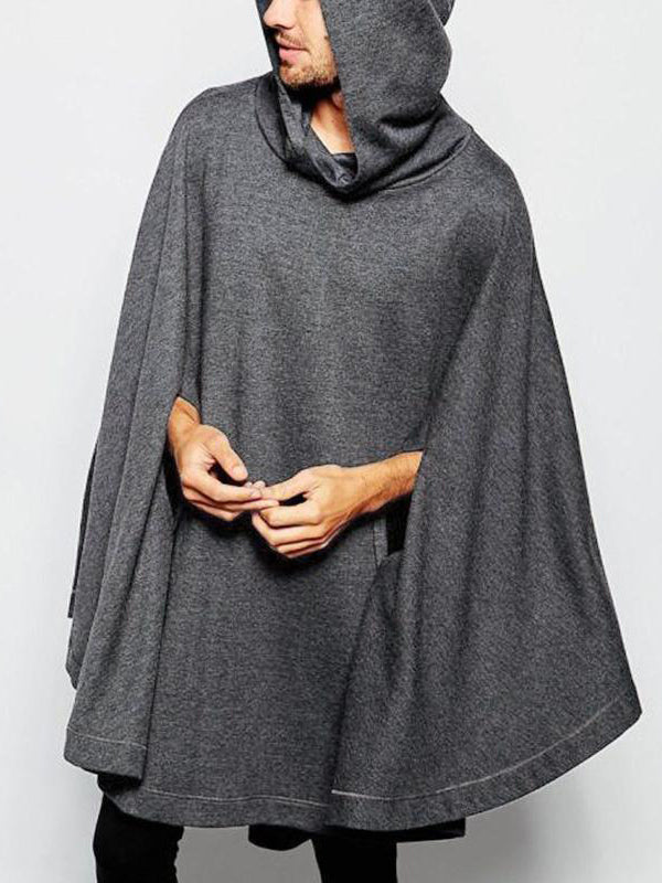 Mens Long Sleeve Hoodies Jumper Causal Baggy Poncho Coats Jackets Cape Cloak Top
