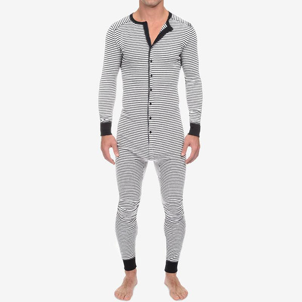 Men All In One Bodysuit Striped Pajama Jumpsuit Leotard Long John Pant Underwear SKUF76564