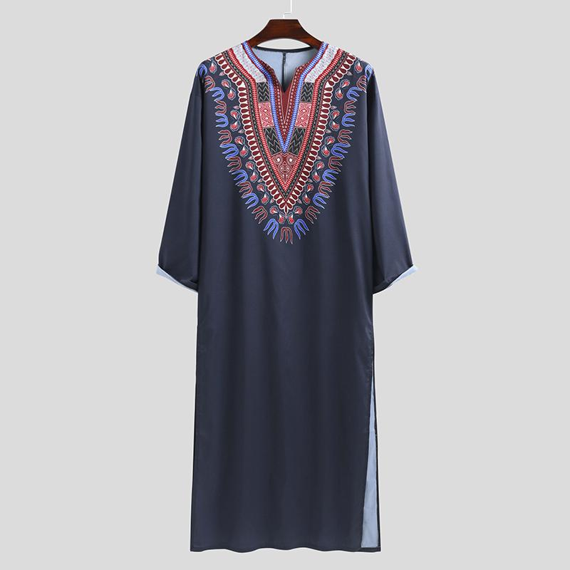 Mens Long Sleeve Ethnic Floral Casual Loose Robes