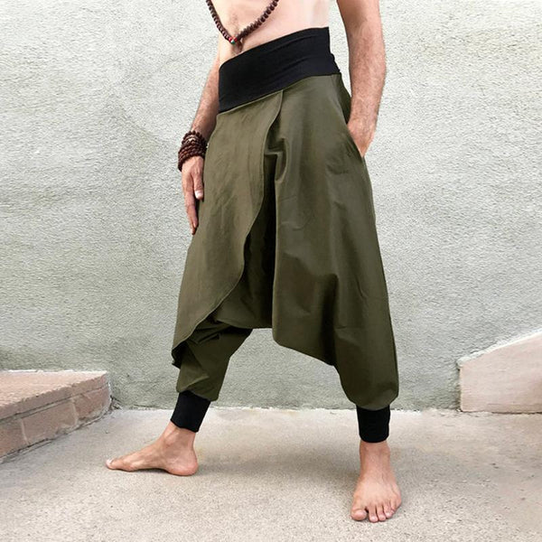 Mens Japanese Punk Gothic Loose Skirt Pants Asymmetrical Hip Hop Dance Trousers