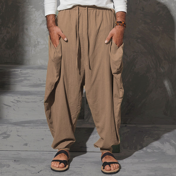 Mens Casual Cotton Linen Solid Color Baggy Loose Fit Harem Pants