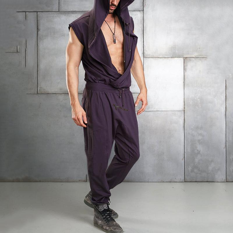 Mens Casual Hooded Jumpsuit Sleeveless Gym Fitness Sports Playsuit Romper Pants