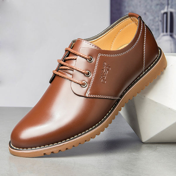 Men Pure Color Microfiber Comfy Low Top Lace-up Casual Business Leather Shoes SKUG17130