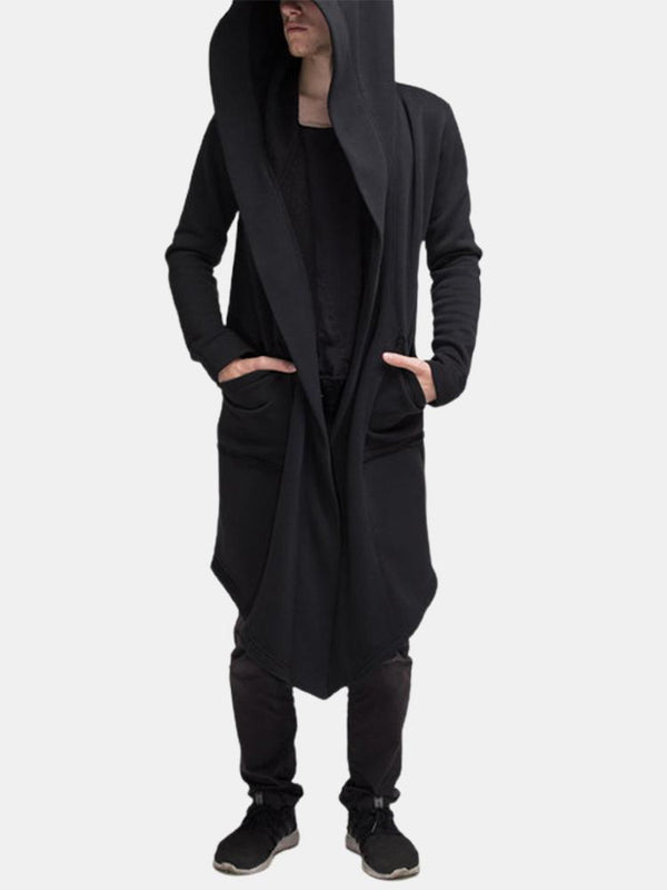 Men's Hooded Pocket Long Cardigan Cloak Jacket Coat