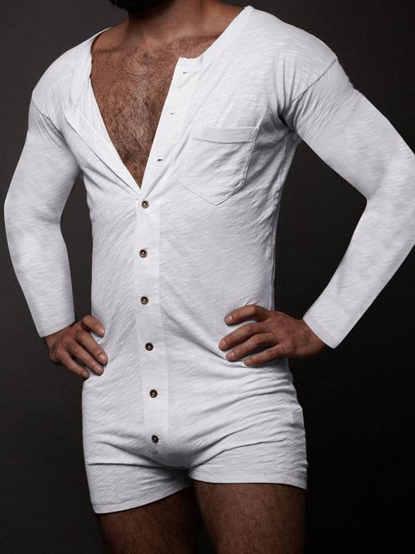 Mens All In One Leotard Button Jumpsuit Playsuits Long Sleeve Underwear Rompers