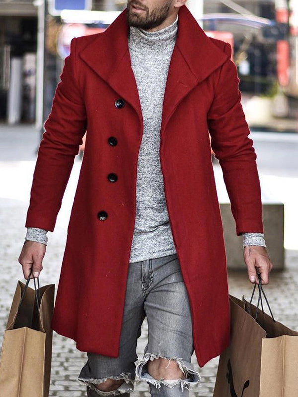 Mens Casual Lapel Single Breasted Mid Long Coat Jacket SKUG86170