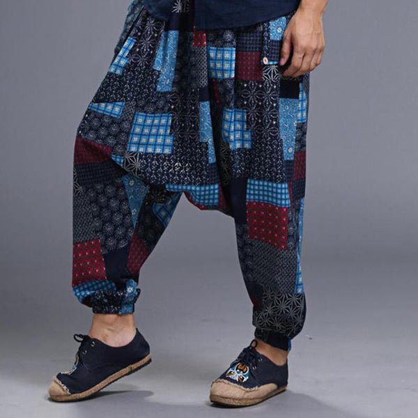 Mens Print Harem Pants Drop Crotch Hippie Baggy Dance Trouser