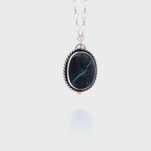 Black Viking Ribbon Turquoise Necklace in Sterling Silver and 14K Gold // The River Valley Collection