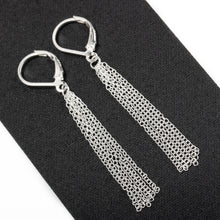 Load image into Gallery viewer, Long Sterling Silver Chain Tassel Earrings