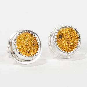 No. 2 Gold Druzy Quartz Earrings with Threaded Screw on Posts // The River Valley Collection