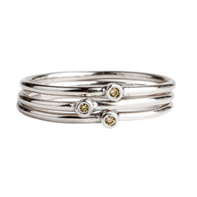 Load image into Gallery viewer, Yellow Diamond Stacking Rings in Sterling Silver